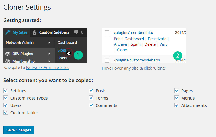 cloner plugin settings page