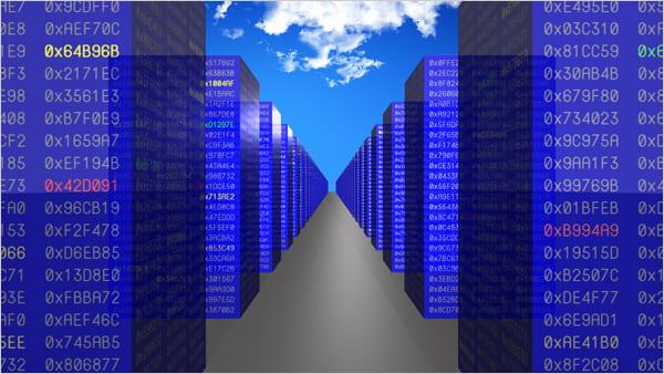 Illustration of cloud hosting servers.