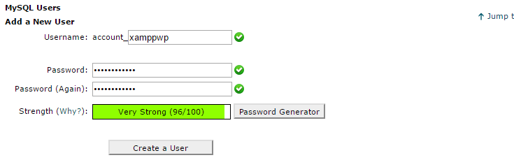 use mysql or phpmyadmin to create a user