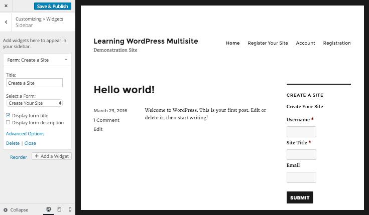 editing the form widget via the WordPress customizer