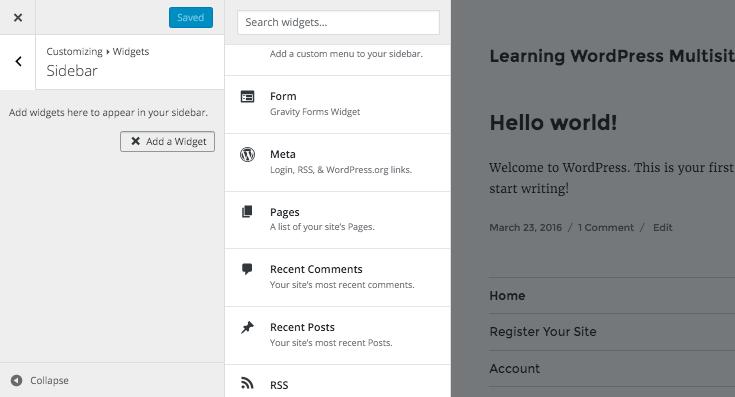 adding a form widget via the WordPress customiser