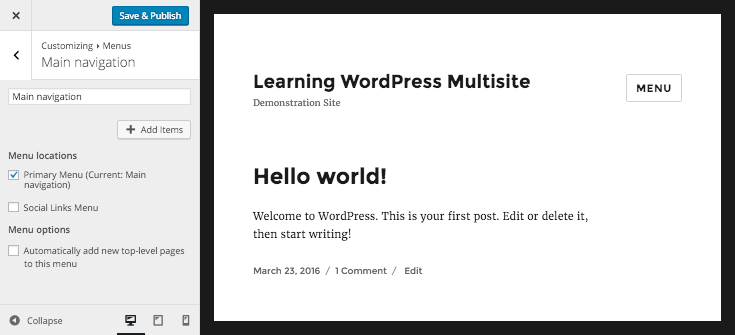 WordPress customizer- editing menus