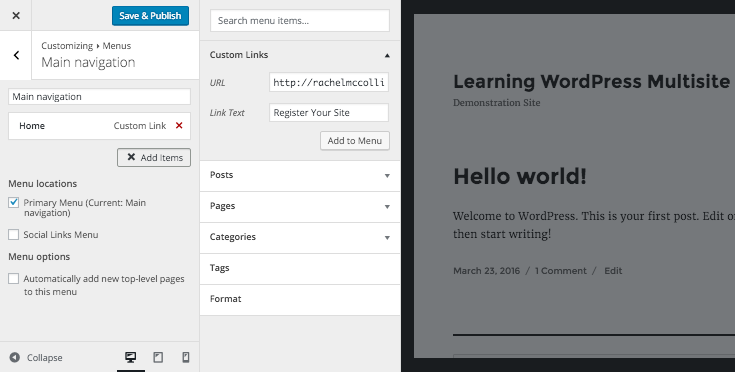 Adding wp-signup.php to the menu via the customizer