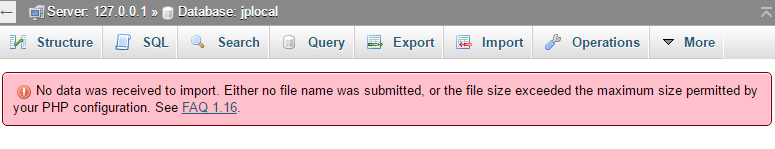 An error message in phpMyAdmin indicating the database was not uploaded