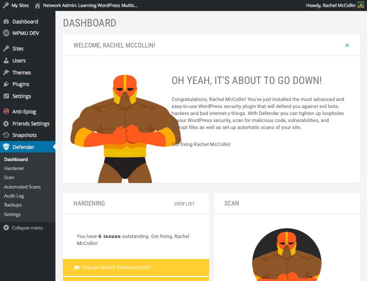 the Defender plugin dashboard screen
