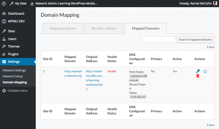 Multisite network admin - mapped domains