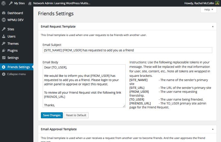 The Friends settings screen
