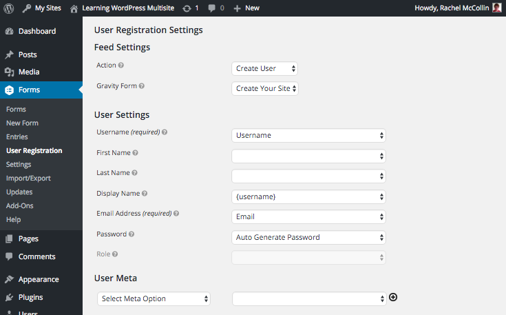 gravity forms setting up user registration