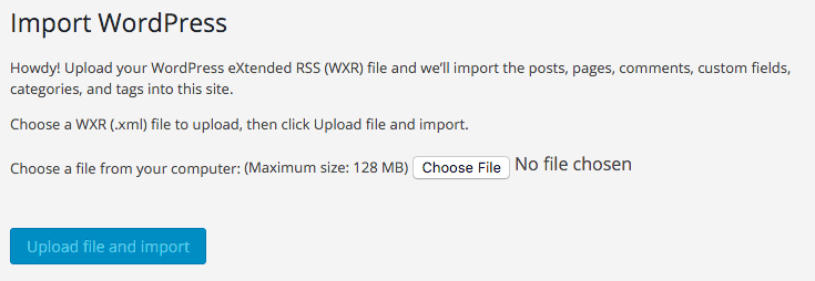 The Importer tool allows you to import WordPress site content saved in XML format.