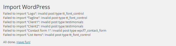 If anything fails to import, study the list to determine which items you want to retry.
