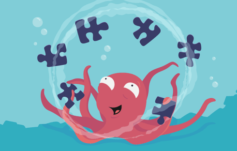 An illustration of an octopus juggling puzzle pieces under the sea.