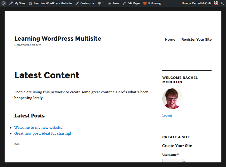 The Latest Content page in the front-end of the main site