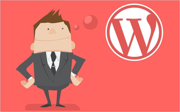 Illustration of businessman thinking about WordPress.