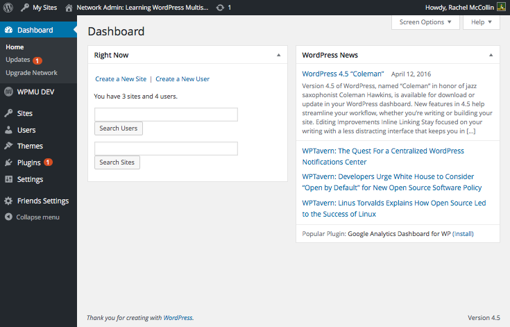 WordPress Multisite network admin dashboard