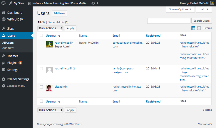 Multisite network admin - Users screen