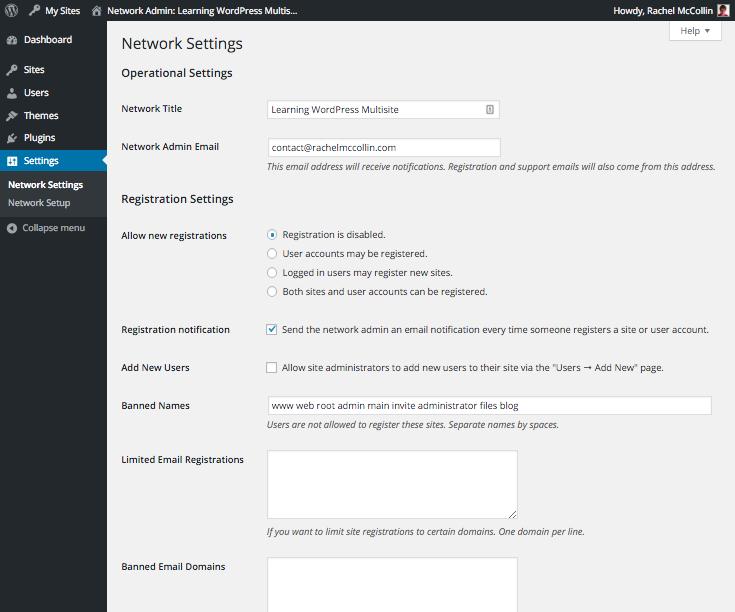WordPress Multisite network settings