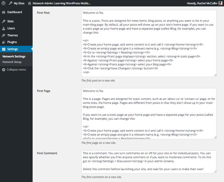 WordPress Multisite editing default content