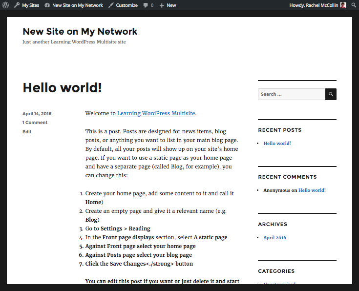 WordPress Multisite new site with edited default content