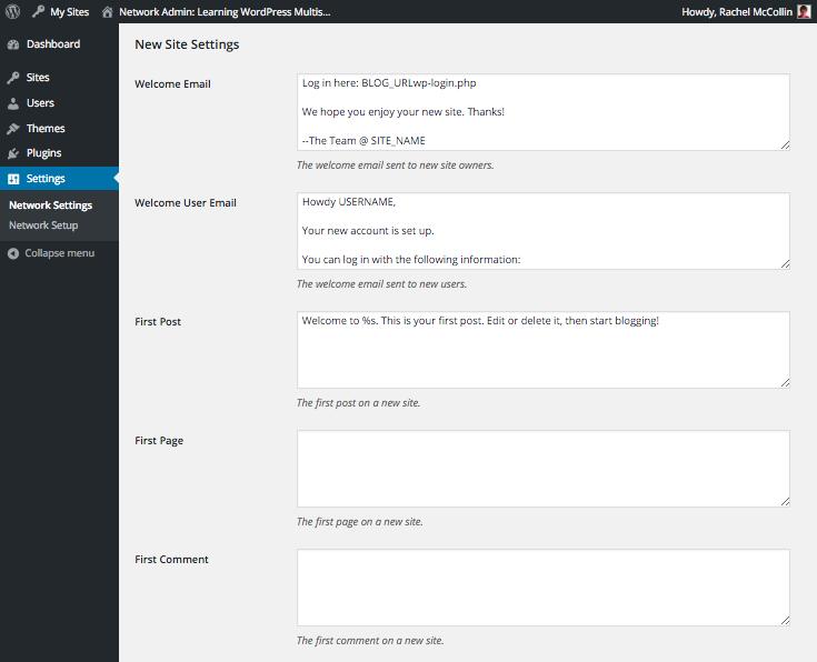 WordPress Multisite new site settings