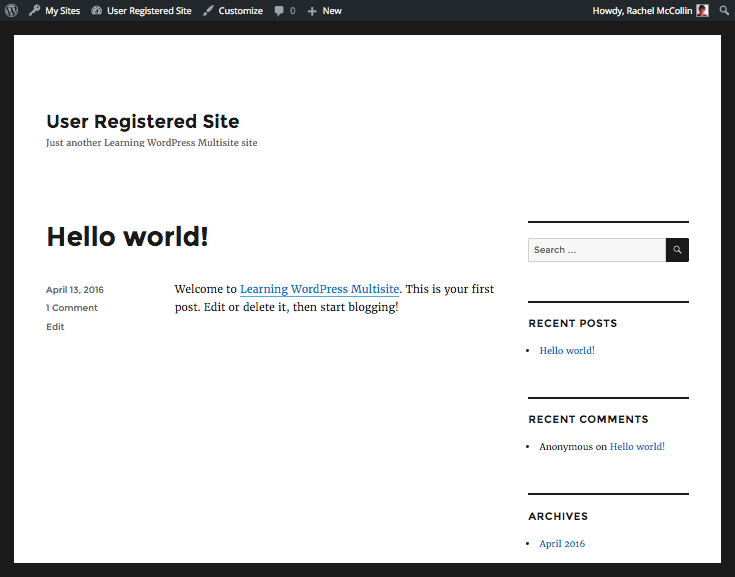 WordPress Multisite new user-created site
