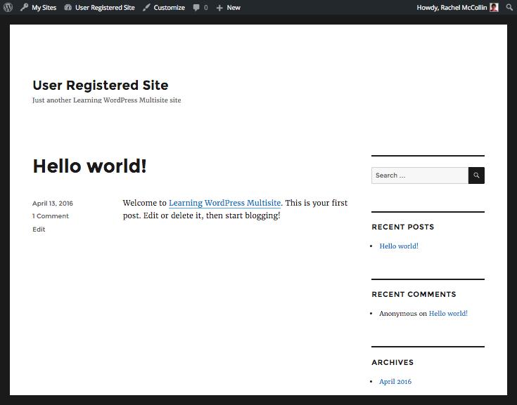 WordPress Multisite new user-created site
