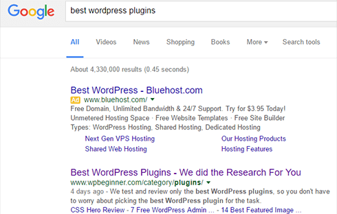 Screenshot of search engine results.