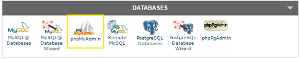 Database menu in a cPanel hosting control panel