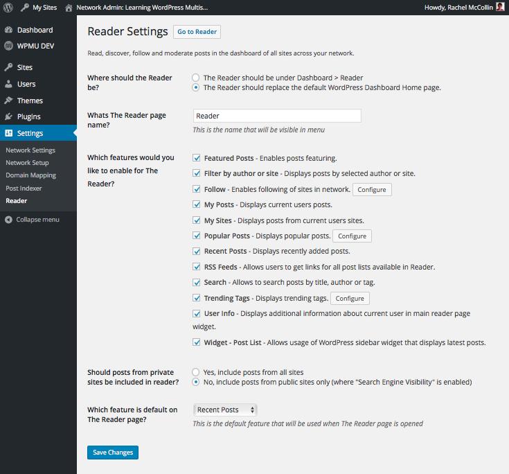 The Reader settings screen