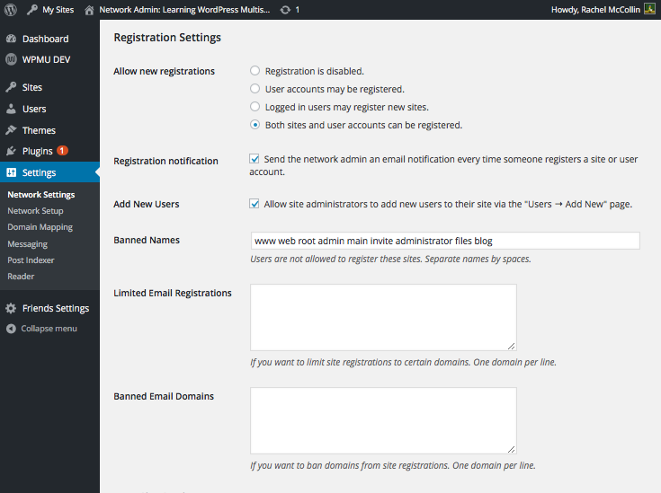 Multisite registration settings