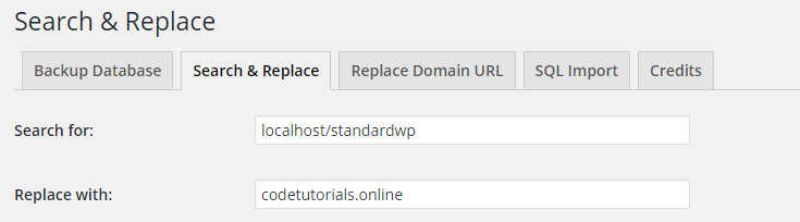 using search and replace to replace localhost url with the live site url