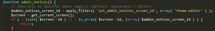 the code does limit the display of the notification to the editor