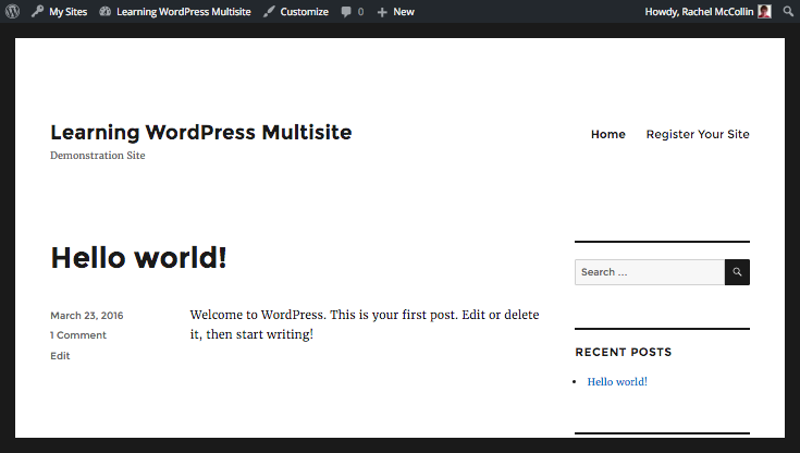 WordPress navigation menu with signup added