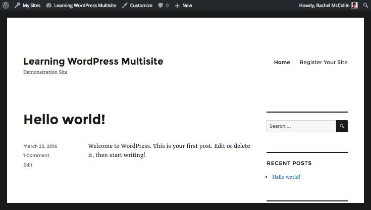 WordPress navigation menu with signup added