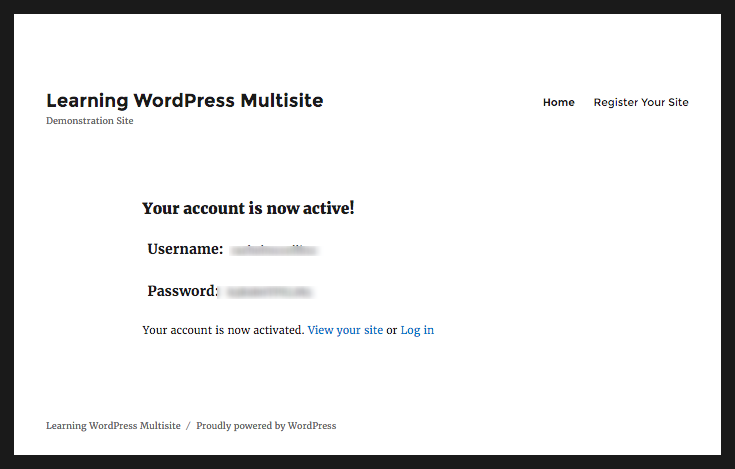 WordPress Multisite site active notification screen with login details