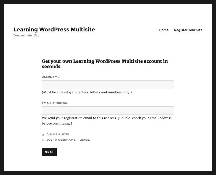 WordPress site registration - front-end