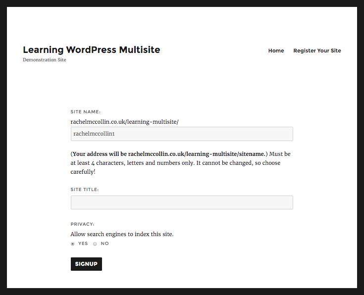 WordPress site registration - site details