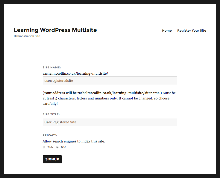 WordPress Multisite site registration final screen