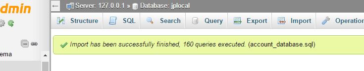 Database import success with phpMyAdmin.