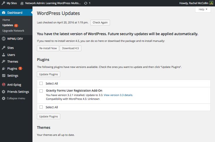 Plugin update screen