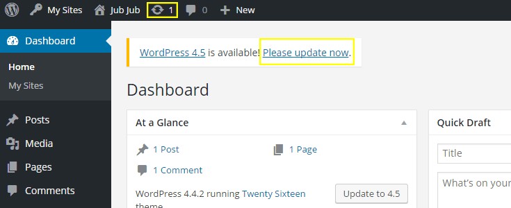 update wordpress to 4.5