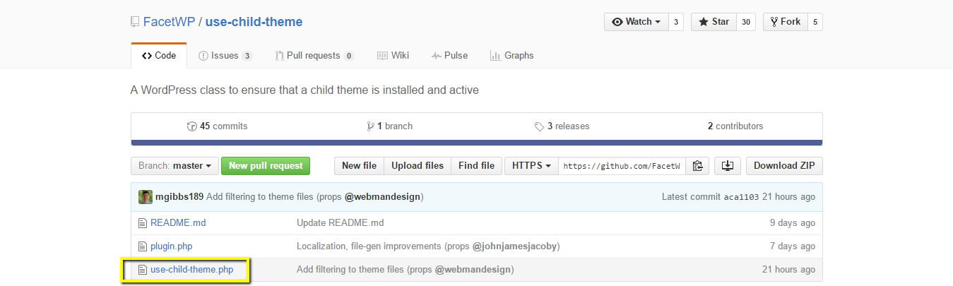 the use child themes file is available at github
