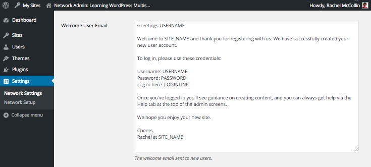 WordPress Multisite user welcome email edited