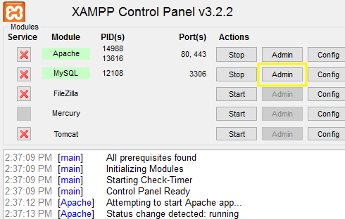 XAMPP control panel interface