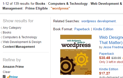 screenshot of amazon faceted search