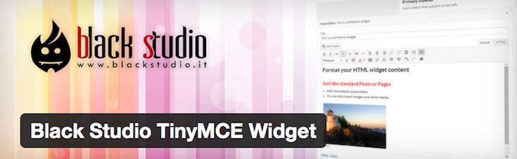Black Studio TinyMCE Widget - Rich Text and Media plugin for WordPress sidebars.