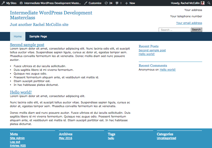 contact details displayed in the header of the live site