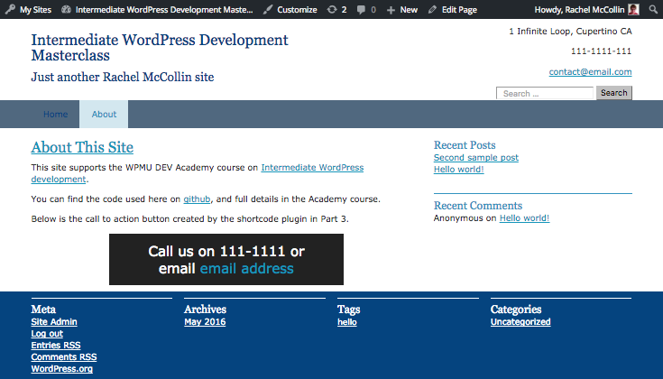 call to action box displayed in site using attributes in a shorctode