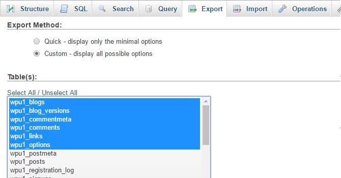 Custom export settings.