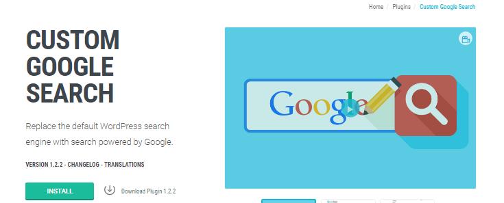 screenshot of custom google search plugin page at wpmu dev