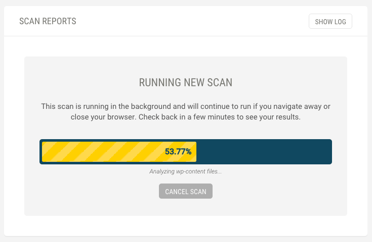 A scan in progress with a loading bar at 53.77% complete.